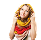 Blonde Woman in Yellow Hood. Isolated on White. — Stock Photo
