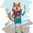 Fashion Illustration of Hipster Fox with Camera — Imagen vectorial