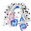 Creative Watercolor Vector Woman Portrait — Stockvektor