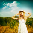 Foto Stock: Portrait of Blonde Womat Summer Meadow
