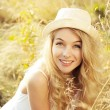 Portrait of Blonde Woman at Summer Field — Stockfoto