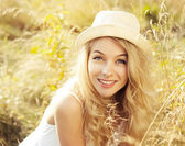 Portrait of Blonde Woman at Summer Field — Stock Photo