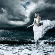 Foto Stock: Mystic Goddess in Stormy Sea