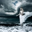 Stock Photo: Mystic Goddess in Stormy Sea