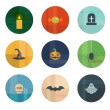 Collection of Nine Vector Halloween Icons — Imagens vectoriais em stock