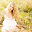 Blonde Woman in Sundress — Foto de Stock