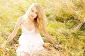 Blonde Woman in Sundress — Stock Photo