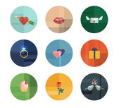 Collection of Nine Vector Valentine's Day Icons — Stock Vector