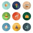 Collection of Nine Vector Birthday Party Icons — Stok Vektör