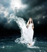Mystic Goddess in Stormy Sea — Stock Photo