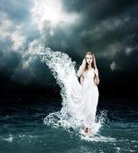Mystic Goddess in Stormy Sea — Stock Photo