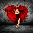 Woman with Splashing Heart on Dark Background — Foto de Stock