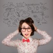 Funny Surprised Hipster Girl with Many Ideas — Stock Photo