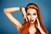 Beauty Portrait of Sexy Red Haired Woman — Stock fotografie