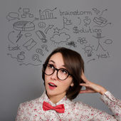 Funny Thinking Hipster Girl with Many Ideas — Stock Photo