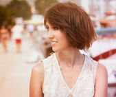 Toned Photo of Young Woman with Bob Hairstyle — Stock Photo