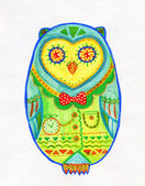 Watercolor Drawing of Egg Shaped Owl — Stock Photo