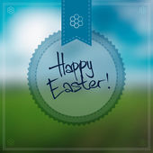 Happy Easter Vector Background With a Round Label — Stock Vector