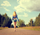 Sexy Blonde Woman Walking Away — Foto de Stock