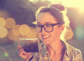 Portrait of Happy Hipster Girl Taking a Photo — Stock Photo