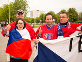 MINSK, BELARUS - MAY 11 - Czech Fans in Front of Chizhovka Arena on May 11, 2014 in Belarus. Ice Hockey Championship. — Stok fotoğraf
