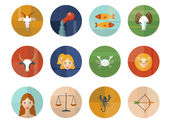 Set of Astrological Zodiac Symbols. Horoscope. — Vecteur