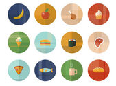 Set of Twelve Vector Food and Drink Icons — Stockvector