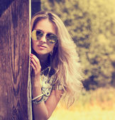 Trendy Hipster Girl on Summer Nature Background — Stock Photo