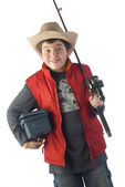 Child hat angler and fishing equipment — Stock Photo