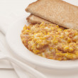Stock Photo: Hot ham and eggs with toast bread