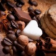 Cofee beans and brown sugar — Stock Photo