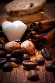 Cofee beans and sugar — Stock Photo
