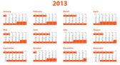 полное европы 2013 год календарь — Стоковое фото