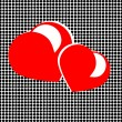 Stock Photo: Red hearts in spotted background
