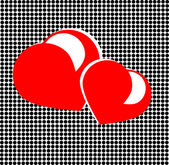 Red hearts in spotted background — Stock Photo