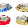 Thera are four battered cans — Stock Photo