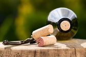Wine bottles with corks — Stock Photo