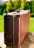 Vintage old brown suitcase — Foto de Stock
