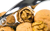Brown greek nut with nutcracker — Stock Photo