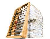 Matematická kalkulačka počítadlo s papíry — Stock fotografie