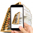Man is taking photo of documents and abacus — Stock Photo