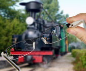 Man is viewing to vintage train on display — Foto de Stock