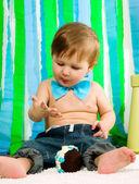 Bambino festeggia il suo primo compleanno — Foto Stock