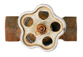 Old rusty brown pipe with crane — Stock Photo