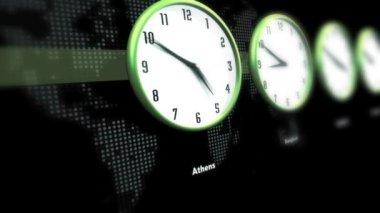 Global Clocks on World Map — Stock Video