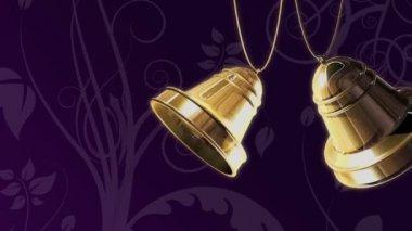 Zlaté zvonky na fialová — Stock video