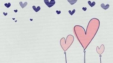 Hand Drawn Hearts Loop HD — Stock Video