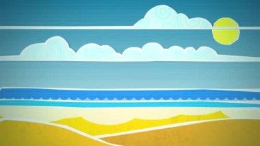 Sunny Beach Scene Loop HD — Stock Video