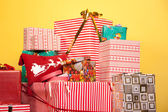 The Heap of Presents in the Bright Festive Photo Studio — Stock Photo