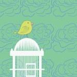 Bird Cage Hand Drawn Illustration — Stock Vector